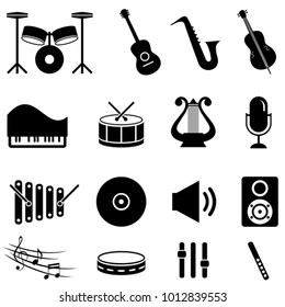 Musical instruments and music icon set