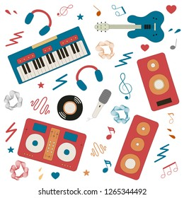 Musical instruments for music shop, school, store. Karaoke, live, disco music festival concept. Vector isolated elements. Electro, rock concert poster with guitar, synthesizer, speakers, vinyl record.