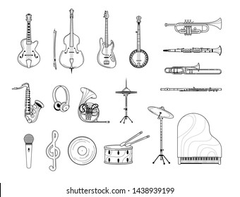 Musical instruments outline illustrations set. Acoustic and electric guitar, grand piano, banjo line art. Trumpet, saxophone, flute sketches. Retro music record and microphone isolated cliparts pack