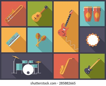 Musical Instruments for Pop, Jazz and Rock icons vector illustration. Flat design illustration with a variety of icons of musical instruments for popular music