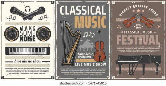 Musical instruments retro posters of classic music festival, live concert or show vector design. Piano, violin and harp, musical notes, microphones and headphones, loudspeakers and viola