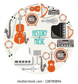 musical instruments retro signs