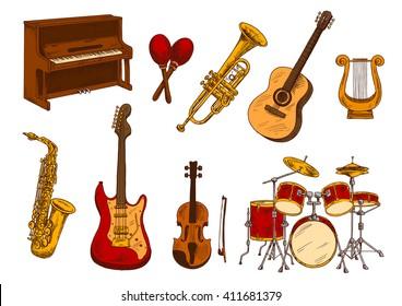 Tema de música Plantillas Para Grabado En Vidrio Guitarra Arpa violín piano saxofón