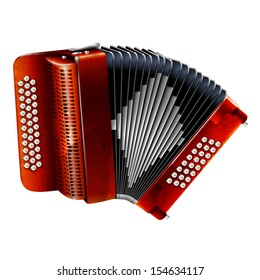 Musical instruments series. Classical bayan (accordion), isolated on white background