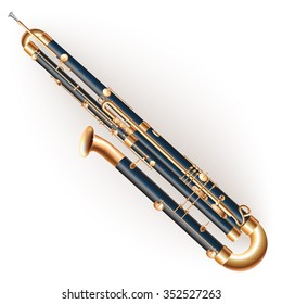 Musical instruments series. Classical contrabassoon, isolated on white background