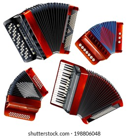 Musical instruments series. Set of classical bayans (accordions), isolated on white background