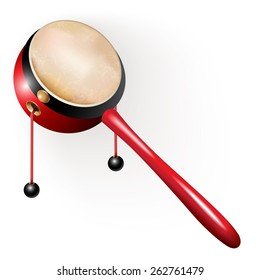 Musical instruments series. Traditional Japanese den-den daiko, isolated on white background. Vector illustration