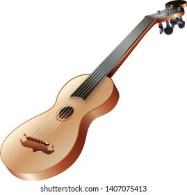 Musical instruments series. Traditional Ukrainian bandurka, isolated on white background. Vector illustration