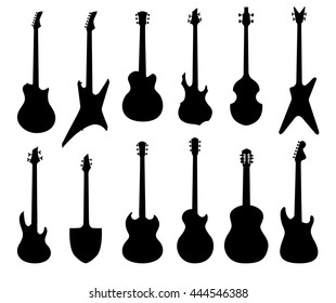 Musical instruments set. Electrical, acoustic, bass, rhutm guitar silhouette collection. Rock music symbols set
