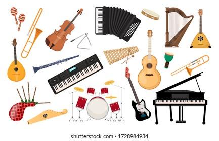 Musical instruments set. Folk classical musical equipment violin, bagpipe harp synthesizer piano saxophone classical and electro guitar accordion balalaika xylophone drum kit. Cartoon color vector.