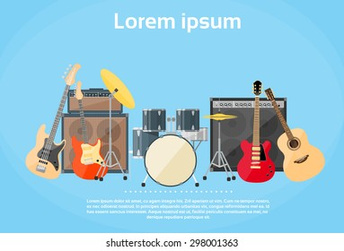 Musical Instruments Set Guitar Drums Rock Band Flat Vector Illustration
