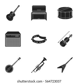 Musical instruments set icons in black style. Big collection of musical instruments vector symbol stock illustration