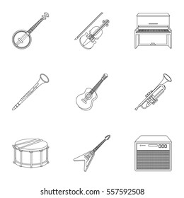 Musical instruments set icons in outline style. Big collection of musical instruments vector symbol stock illustration
