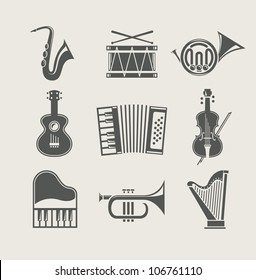 musical instruments set of icons vector illustration