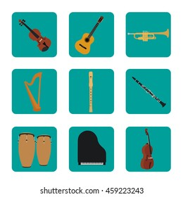 Musical instruments set for use in advertising, presentations, brochures, documents and forms, etc.