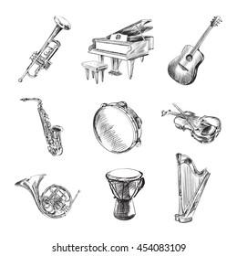 Musical instruments set vector illustration sketches, trumpet, grand piano, guitar, trombone, violin, harp