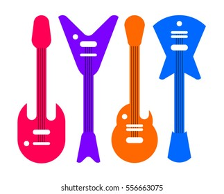 Musical instruments shop. Kinds of electric guitars. Learning to play the guitar. listen to music online.