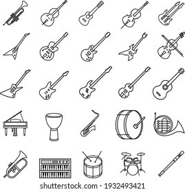 Musical Instruments Simple Flat Icon Package Vector Format Eps 10