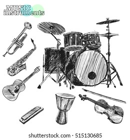 Musical instruments. Sketch hand drawn vector illustration. Engraving retro vintage style.