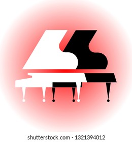 Musical instruments. Symbol of classical music. Light red background. Composition with silhouettes of two grand pianos. Stylized black and white grand pianos. For music lessons, concerts, music store.