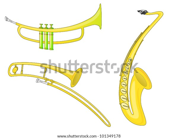 Musical Instruments (Vector). 3 musical instruments - Saxophone, Trombone and Trumpet.