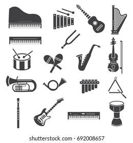 Musical instruments vector icon set grey