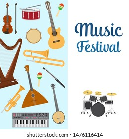 Musical instruments vector illustration. Set of musical instruments trumpet, record, piano and guitar, xylophone, guitar, drum and arpha for music concert or festival poster.