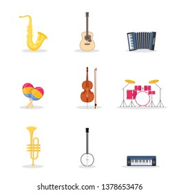 Musical instruments vector illustrations set. Drum kit, percussion. Electric synthesizer, acoustic guitar. Orchestra, band. Saxophone, trumpet isolated design elements. Cartoon violin, banjo