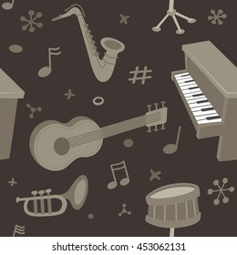 Musical instruments. Vector seamless pattern. Background made with retro style illustrations of various musical instruments and music notes.