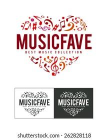 Musical logo design template. Notes heart shape. Vector art.