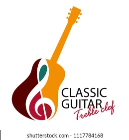 Musical logo. Silhouette of a guitar and a treble clef. Bright juicy colors. The concept of classical music. Spanish musical instrument. Flamenco.