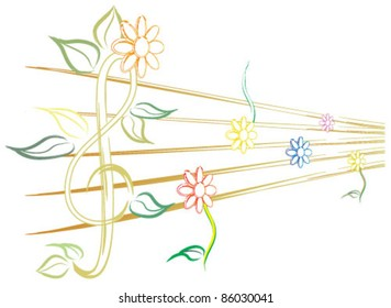 musical notation with flower