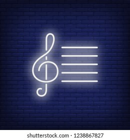 Musical notation with treble clef neon sign. Classical music, concert or advertisement design. Night bright neon sign, colorful billboard, light banner. Vector illustration in neon style.