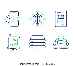 Musical note, Augmented reality and Coffee vending line icons set. International globe, Servers and Arena stadium signs. Speech bubble, Phone simulation, Coffee vending machine. Vector