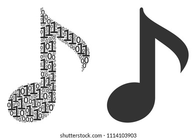 Musical note composition icon of zero and null digits in random sizes. Vector digits are composed into musical note composition design concept.