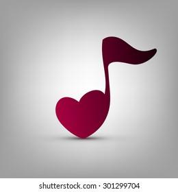 Musical note heart shape vector logo design template