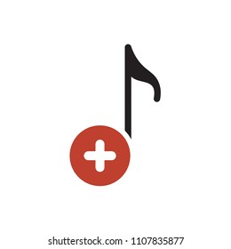 Musical note icon, music icon with add sign. Musical note icon and new, plus, positive symbol. Vector illustration