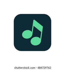 Musical note icon vector, clip art. Also useful as logo, square app icon, web UI element, symbol, graphic image, sign, silhouette and illustration.