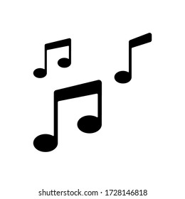 Musical note icon vector on white background