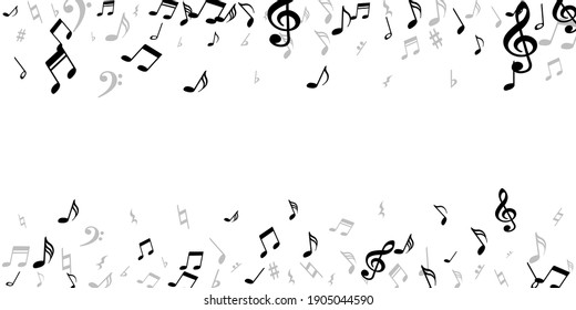 Musical note icons vector design. Melody recording signs swirling. Pop music concept. Modern note icons elements with treble clef. Party flyer background.