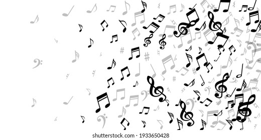 Musical note icons vector wallpaper. Melody notation signs scatter. Digital music illustration. Modern note icons elements with pause. Concert poster background.