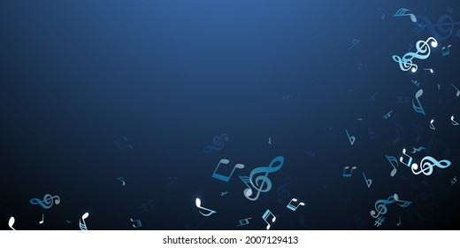 Musical note icons vector wallpaper. Symphony notation signs placer. Disco music pattern. Modern note icons silhouettes with flat. Album cover backdrop.