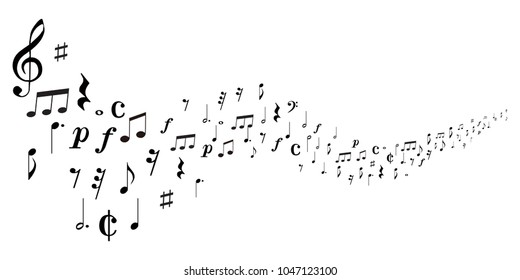 Musical note music silhouette background