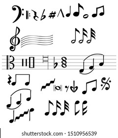 Musical note silhouettes, abstract music melody signs isolated on white background. Music notes, treble clef, bass clef, stave