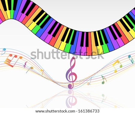 Musical Note Staff Background Vector Illustration Stock Vector