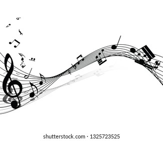 Musical note staff. EPS 10 vector illustration with transparency.