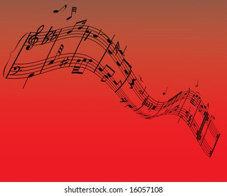 Musical note staff on the red background