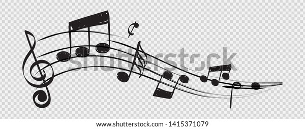 Musical note. Staff treble clef notes musician concept vector isolated on transparent background. Illustration of music sound, tune bass treble
