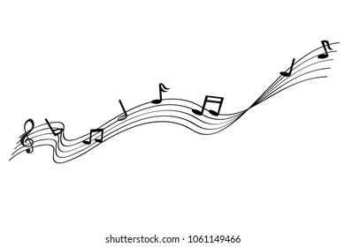 Musical Note waving line, for your element design, isolated on white