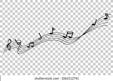 musical note waving line, for your element design, at transparent effect background